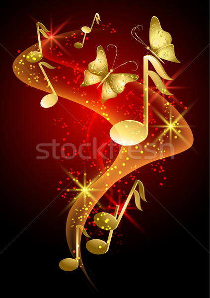 Musical notes, smoke, stars and butterfly Stock photo © Marisha