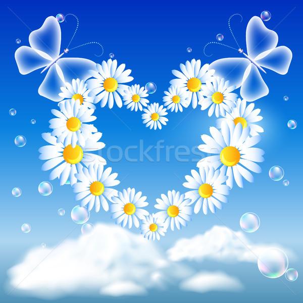 Daisy heart and butterflies Stock photo © Marisha