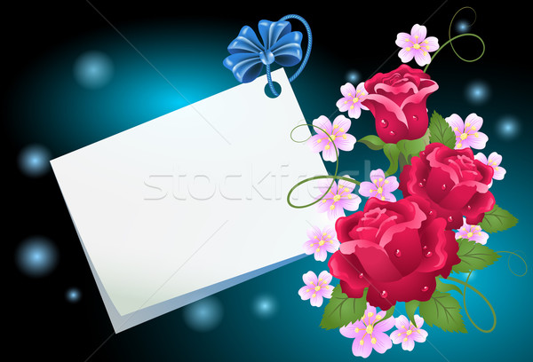 Floral background with paper Stock photo © Marisha