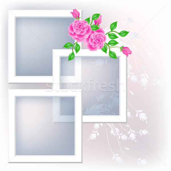 Güller sayfa düzen çiçekler Stok fotoğraf © Marisha
