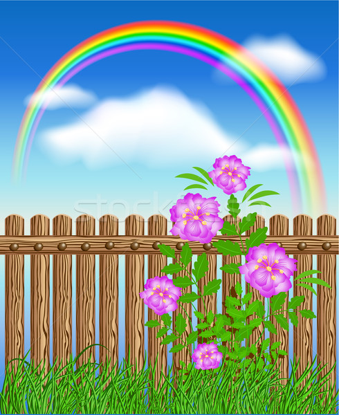Stock photo: Wooden fence on green grass with flowers