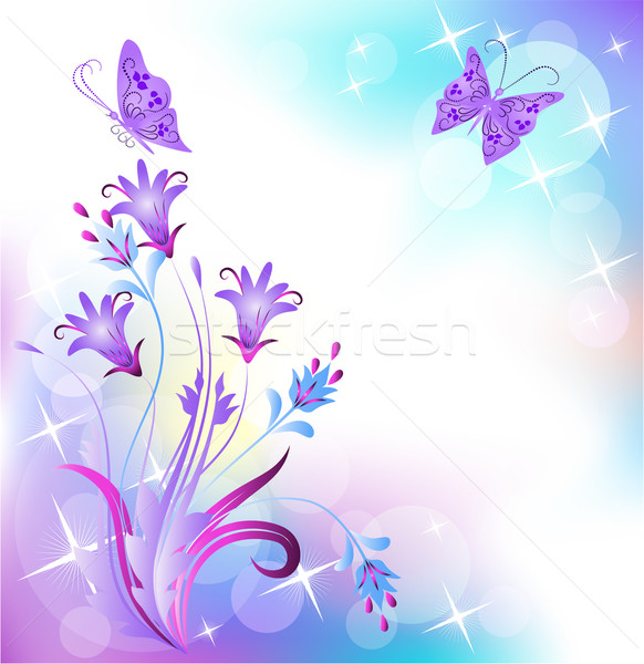 Floral mariposa flores fondo volar tarjeta Foto stock © Marisha