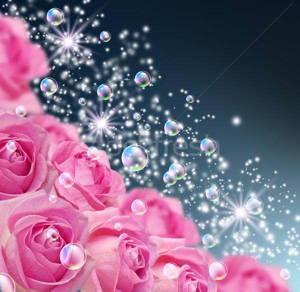 Rose carta bolle stelle fiori primavera Foto d'archivio © Marisha