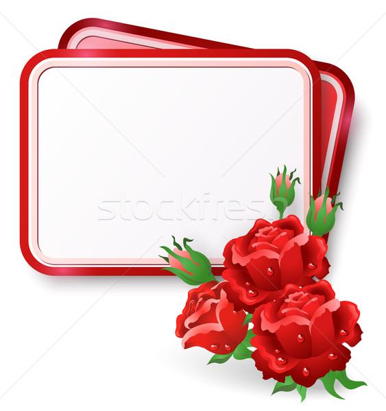 Tarjeta rosas rojas rocío caída tarjeta de felicitación aumentó Foto stock © Marisha