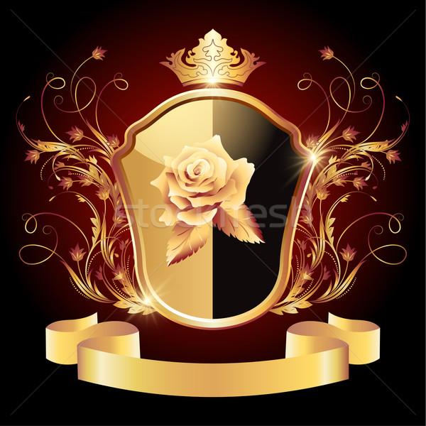 Medieval escudo dorado ornamento corona Foto stock © Marisha