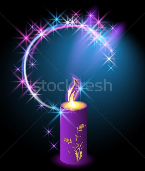 Burning candle with an ornament Stock photo © Marisha