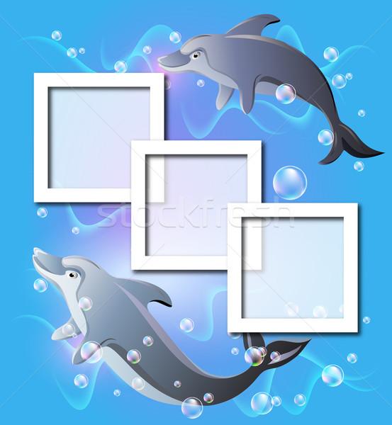 Stockfoto: Foto · frames · paar · dolfijnen · water · lucht