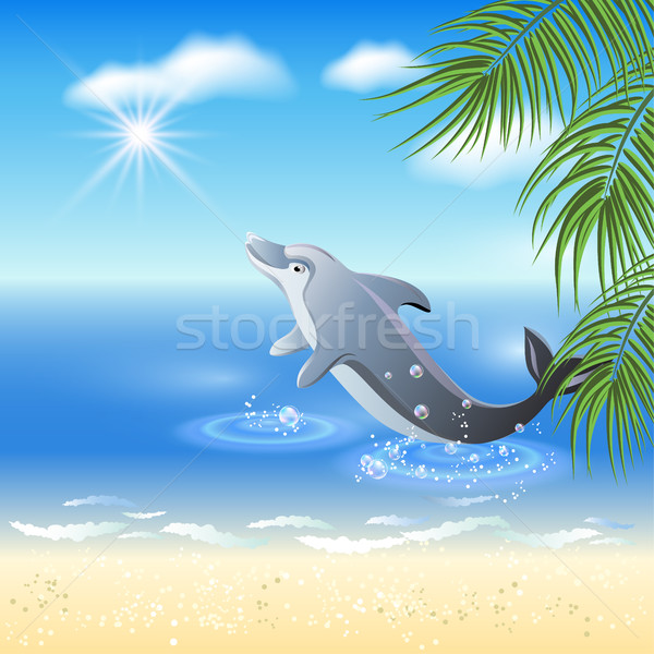 Dolphins leaps from water Stock photo © Marisha