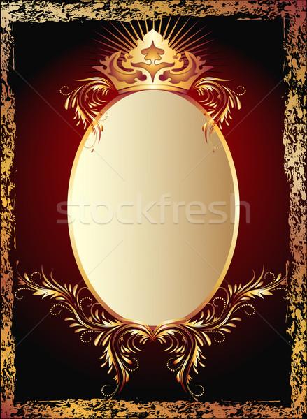 Lusso rame ornamento corona carta frame Foto d'archivio © Marisha