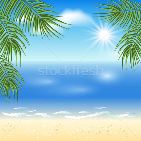Palmiye ağaçları güneş gökyüzü plaj deniz Stok fotoğraf © Marisha