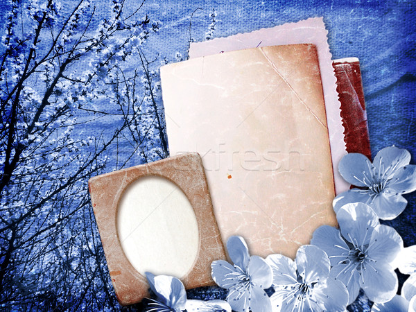 Paper and photo frame with cherry blossoms Stock photo © Marisha