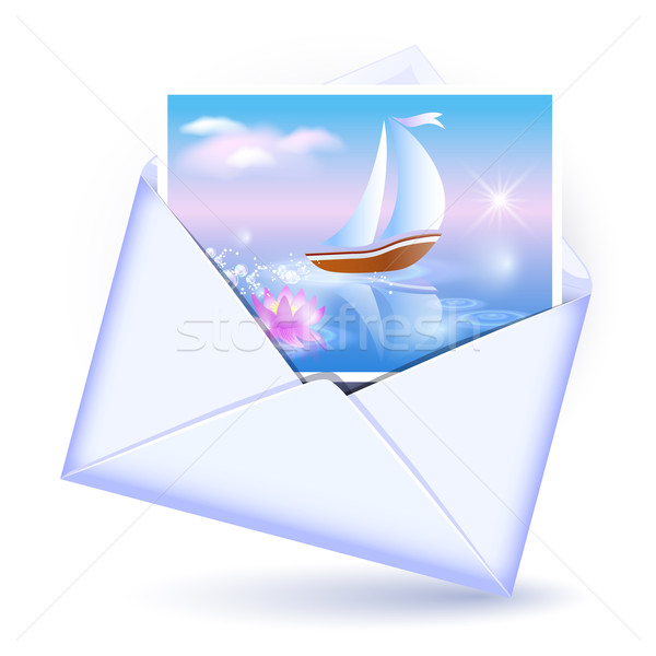 Envelope and card with image sailboat Stock photo © Marisha