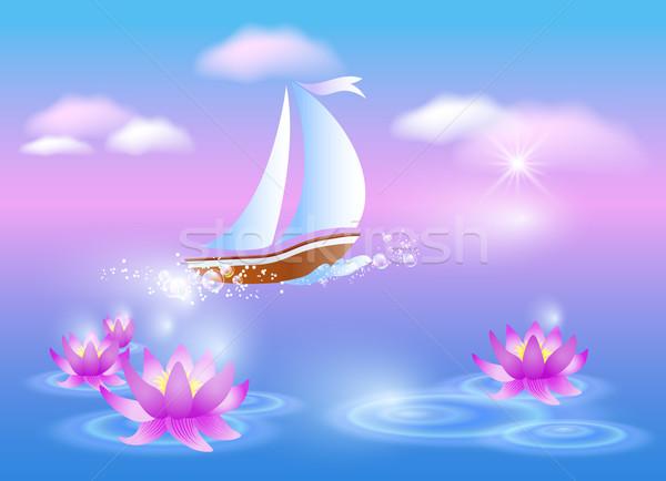 Sailing boat and violet lilies Stock photo © Marisha