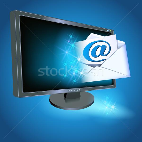 Monitor busta carta e-mail segno computer Foto d'archivio © Marisha