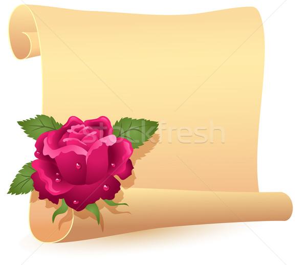 Gerollt Pergament stieg gefaltet Text Blumen Stock foto © Marisha