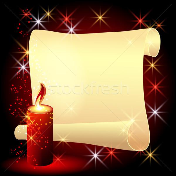 羊皮紙 燃焼 キャンドル 折られた 赤 背景 ストックフォト © Marisha
