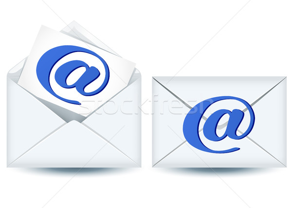 Two envelope and paper with e-mail sign Stock photo © Marisha