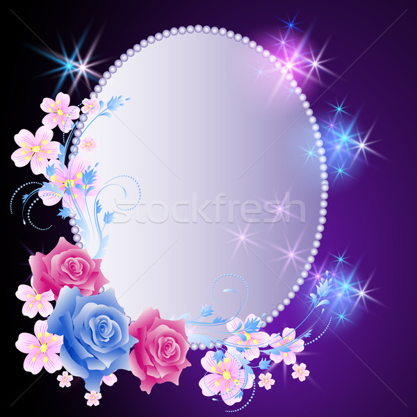 Glowing background with frame and flowers Stock photo © Marisha