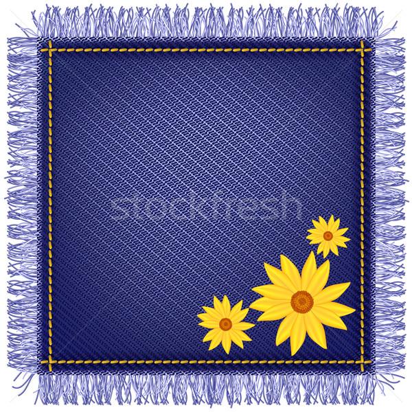 Napkin from jeans fabric and flowers Stock photo © Marisha