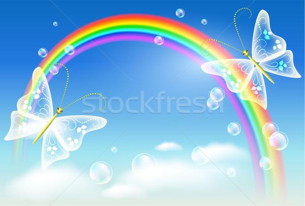 Rainbow and butterfly Stock photo © Marisha