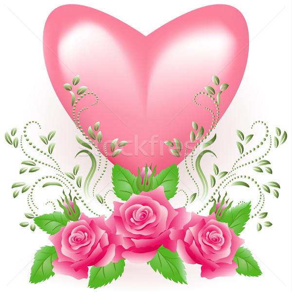 Heart with rose Stock photo © Marisha