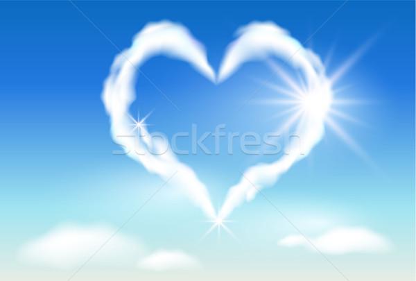 Nuvem coração luz do sol céu luz solar nuvens Foto stock © Marisha
