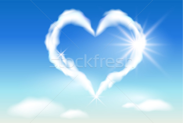 Wolk hart zonneschijn hemel zonlicht wolken Stockfoto © Marisha