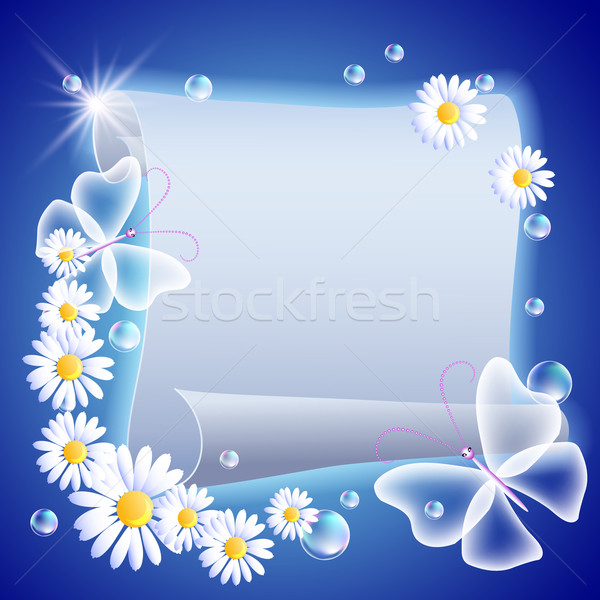Pergamena fiori farfalle cielo carta Foto d'archivio © Marisha