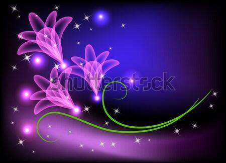 Liliomok pillangó mágikus égbolt virágok fény Stock fotó © Marisha