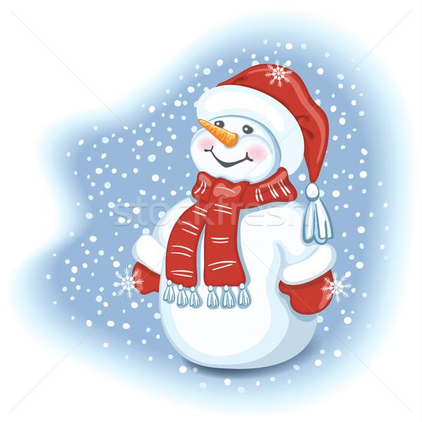 Drôle bonhomme de neige cap chutes de neige Photo stock © Marisha