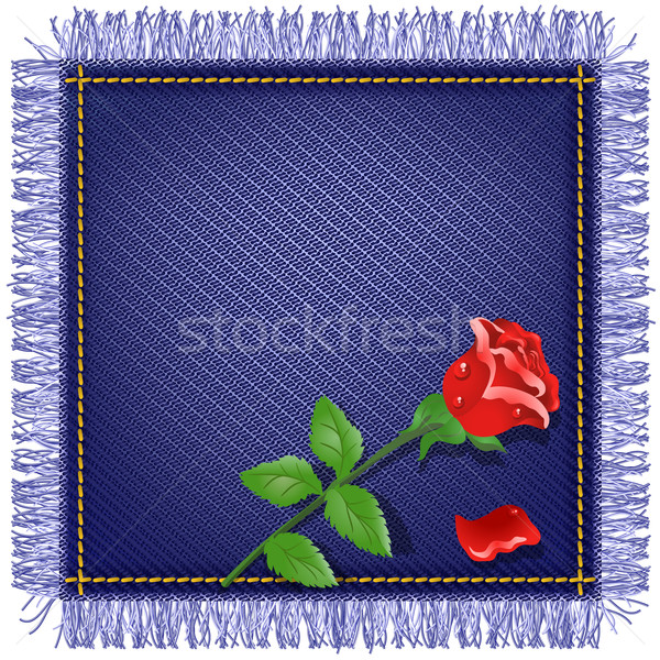 Napkin from jeans fabric and red rose Stock photo © Marisha