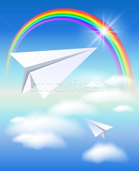 Stock fotó: Kettő · papír · szivárvány · papírrepülő · repülés · felhők