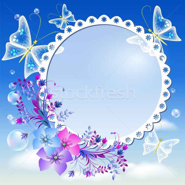 Flores borboletas céu photo frame nuvens azul Foto stock © Marisha