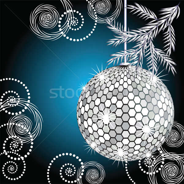 Boule disco argent fourrures arbre fond disco Photo stock © Marisha