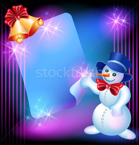 Snowman, chiming bells and signboard Stock photo © Marisha