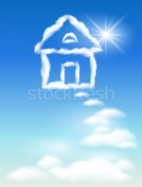 Nube casa cielo sole nubi finestra Foto d'archivio © Marisha