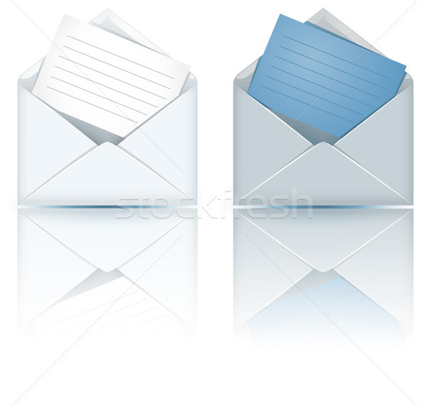 Due open busta carta sfondo blu Foto d'archivio © Marisha