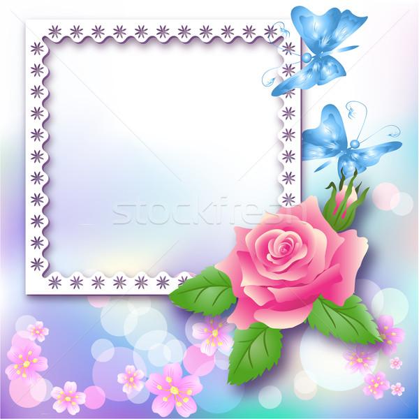 Pagina layout photo album rosa farfalla abstract Foto d'archivio © Marisha