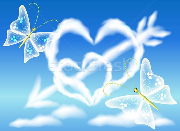 Nube cuori cielo arrow farfalla cuore Foto d'archivio © Marisha