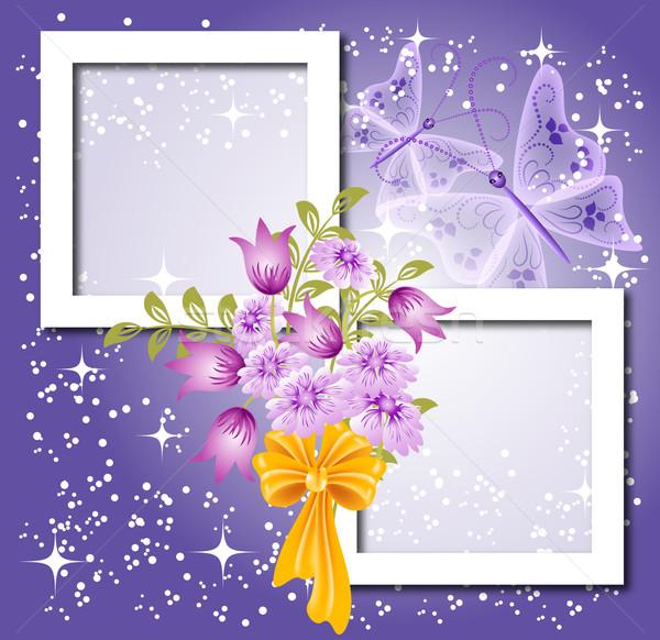 Testo foto fiori arco farfalla abstract Foto d'archivio © Marisha