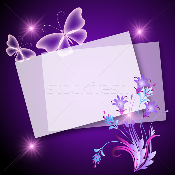 Paper, flowers and butterfly Stock photo © Marisha
