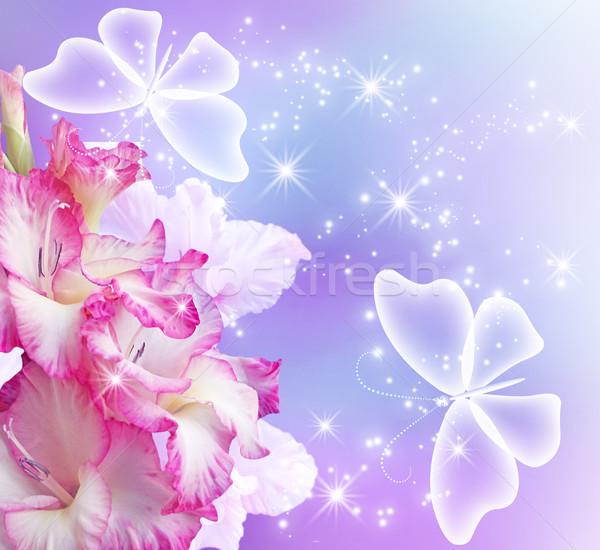 Fiore farfalle trasparente amore felice sfondo Foto d'archivio © Marisha