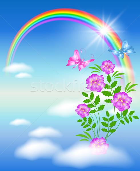 Rainbow in the sky and flowers Stock photo © Marisha