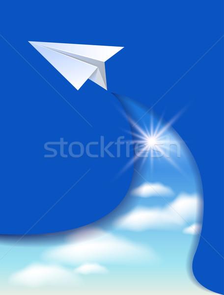 Paper airplane and clouds sky Stock photo © Marisha