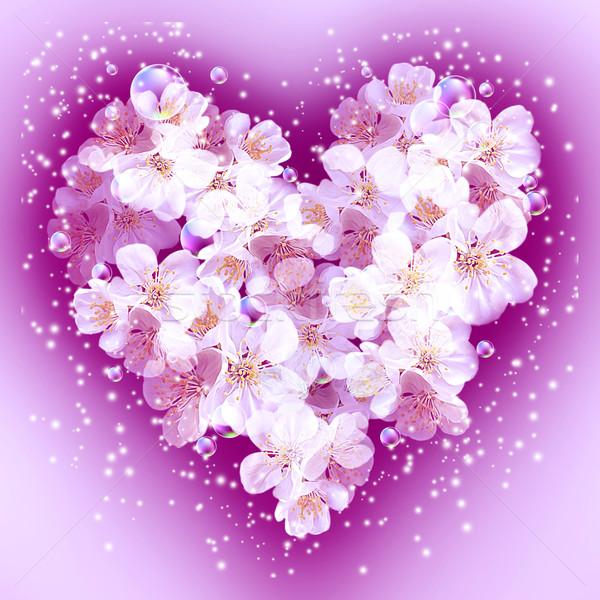 Mela fiori a forma di cuore carta bouquet bolle Foto d'archivio © Marisha