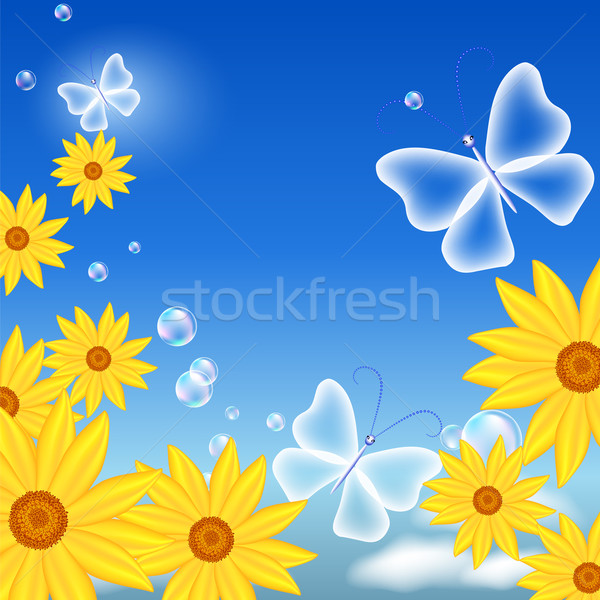 Flowers and butterflies Stock photo © Marisha