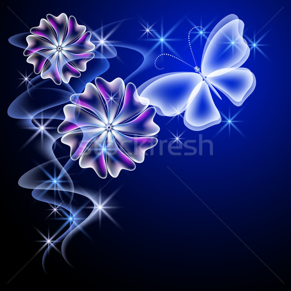 Glowing flowers and butterfly Stock photo © Marisha