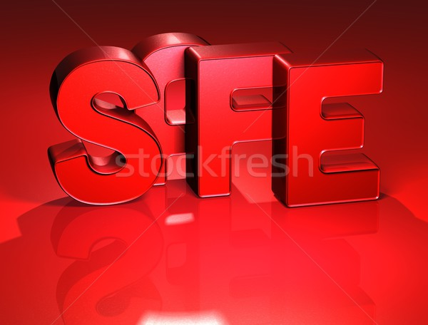 3D Word Safe on red background Stock photo © Mariusz_Prusaczyk