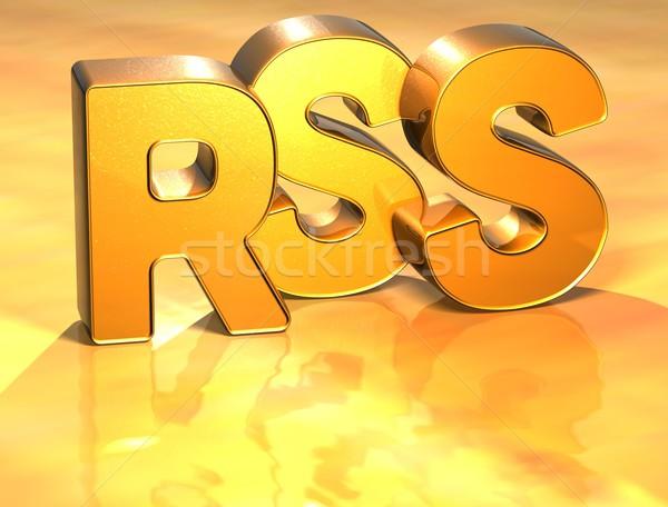 3D woord rss goud technologie achtergrond Stockfoto © Mariusz_Prusaczyk
