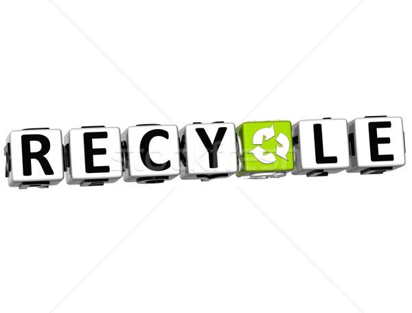 3D recycler texte blanche papier croix Photo stock © Mariusz_Prusaczyk